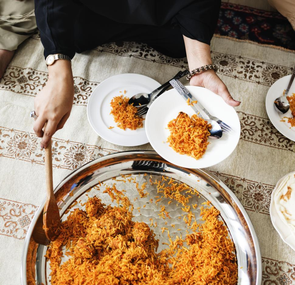 Download Free Stock HD Photo of Flat lay of Biryani being served Online