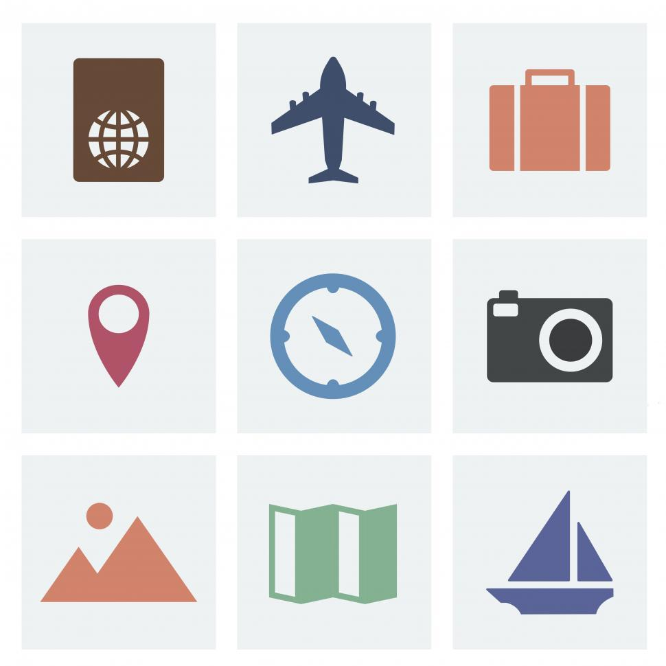 Download Free Stock HD Photo of A collection travel vector icons Online