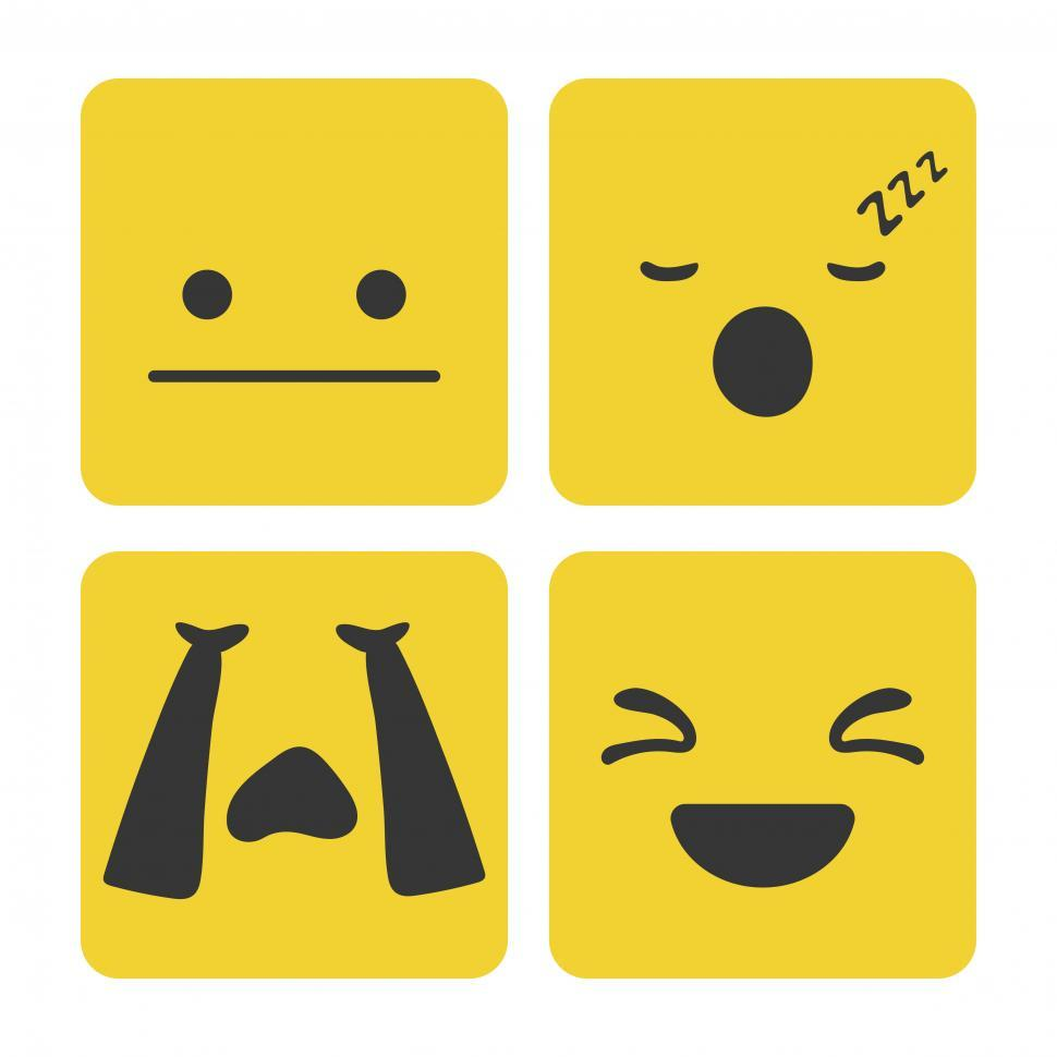 Download Free Stock HD Photo of Emotions expressed with black color in yellow squares Online