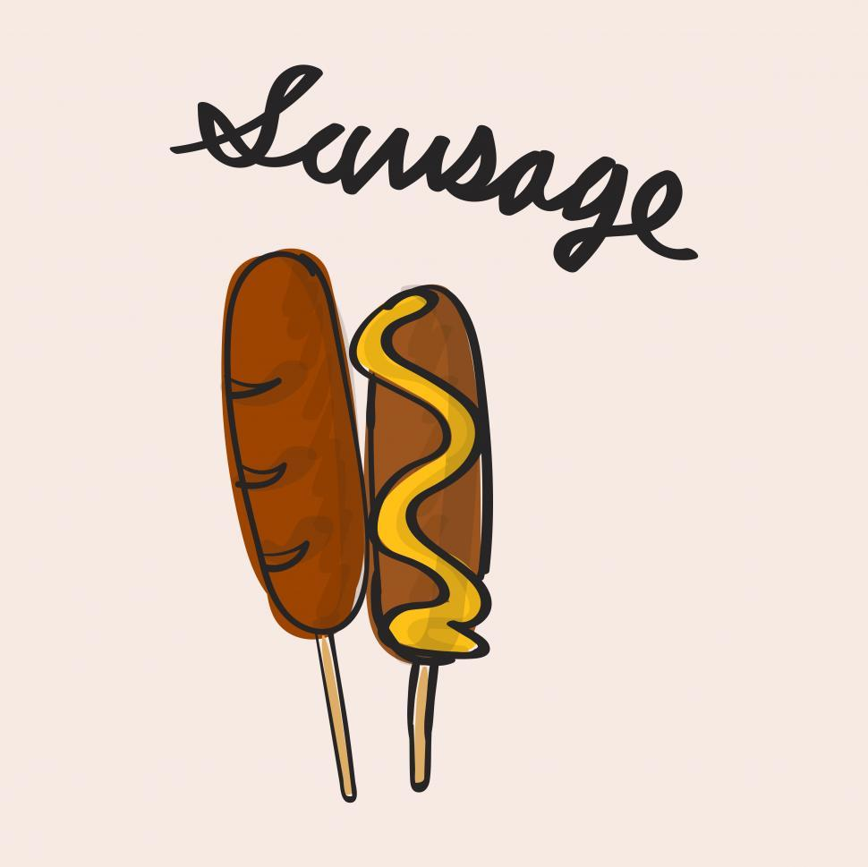 Download Free Stock HD Photo of Sausage meat stick vector icon Online