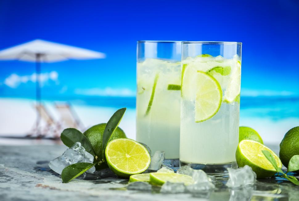 Download Free Stock HD Photo of Close up of two glasses of chilled lemonade Online