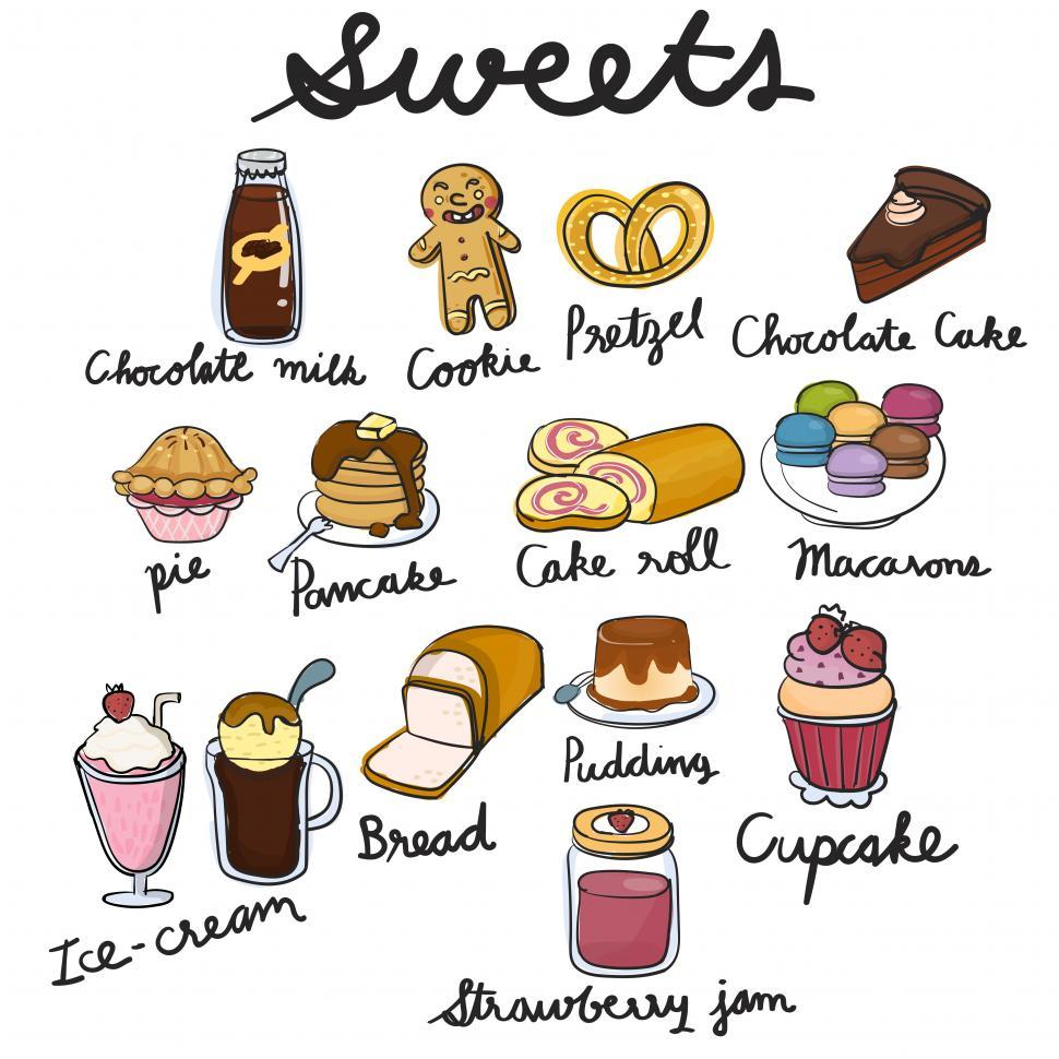 Download Free Stock HD Photo of Various confectionery and bakery items vector icons Online