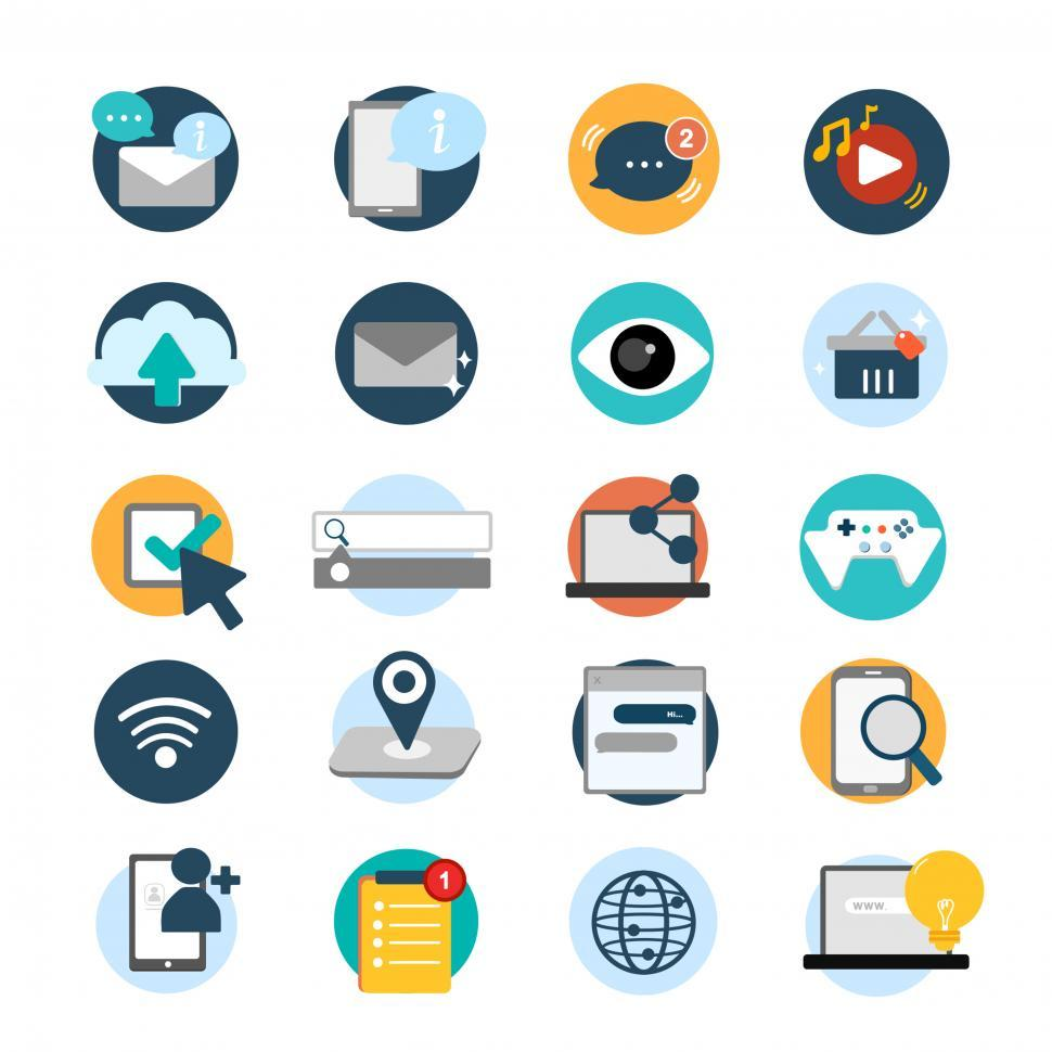 Download Free Stock HD Photo of A collection of IT communication and multimedia icons vector Online