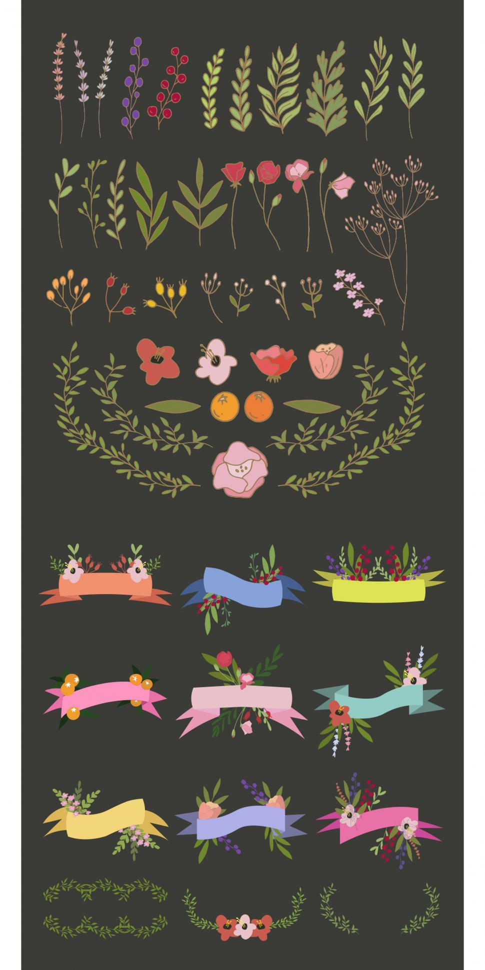 Download Free Stock HD Photo of A collection flower and ribbon banners vector icons Online