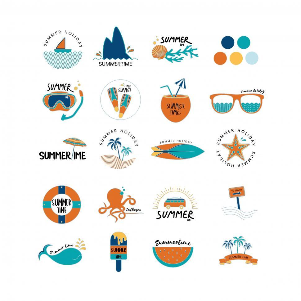 Download Free Stock HD Photo of A collection of summer adventure vector icons Online