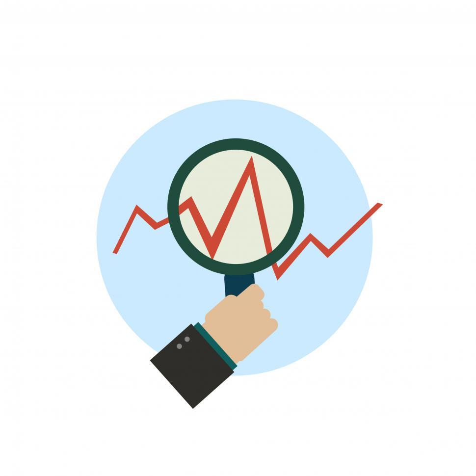 Download Free Stock HD Photo of Growth chart with magnifying glass in a hand vector icon Online