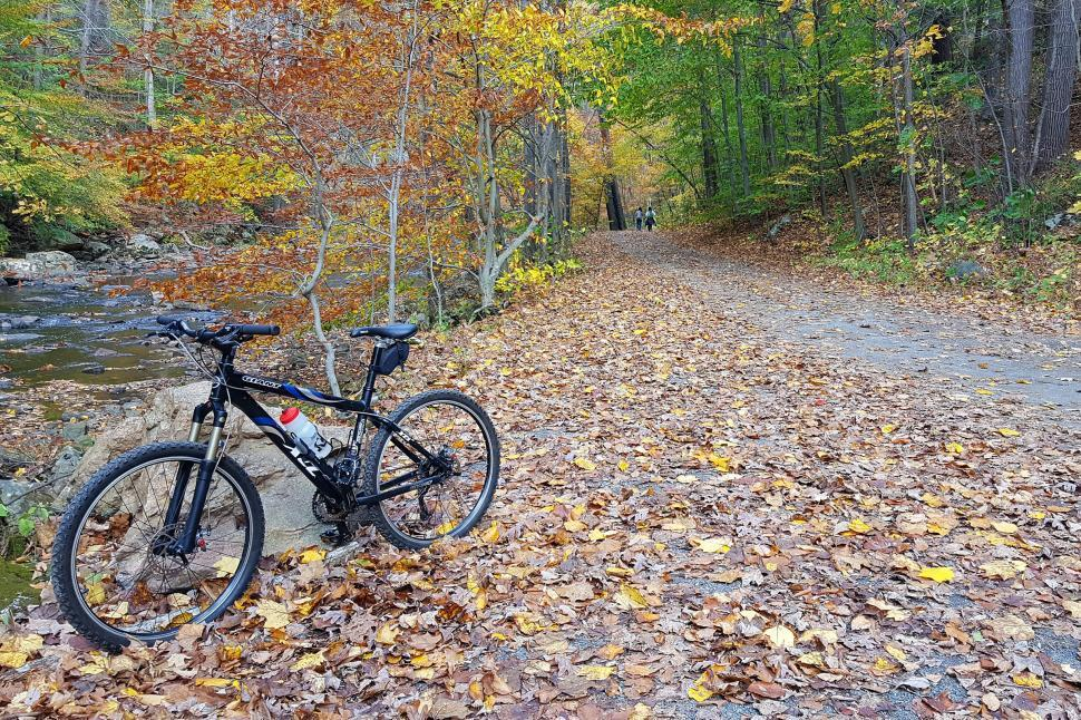Download Free Stock HD Photo of Mountain Bike By A Stream Online
