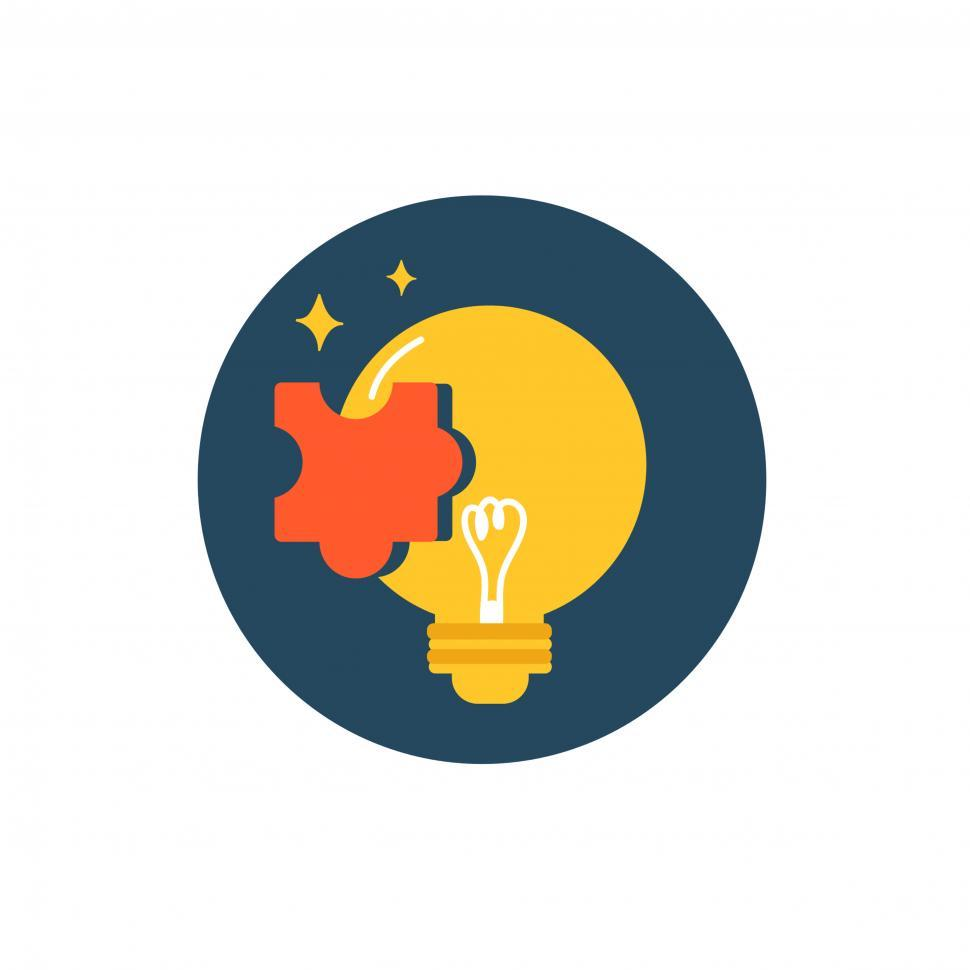 Download Free Stock HD Photo of Lightbulb and puzzle vector icon Online