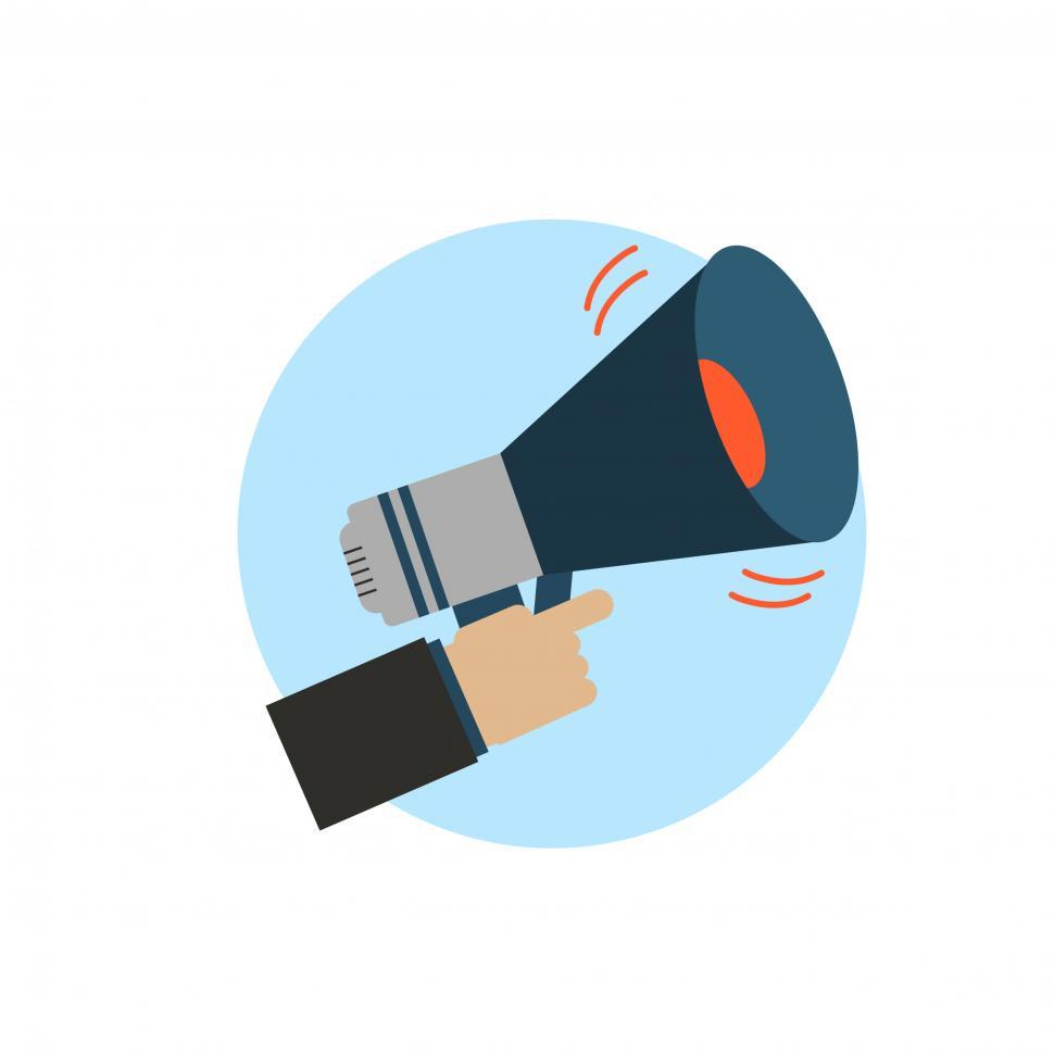 Download Free Stock HD Photo of Hand holding a megaphone vector symbol Online
