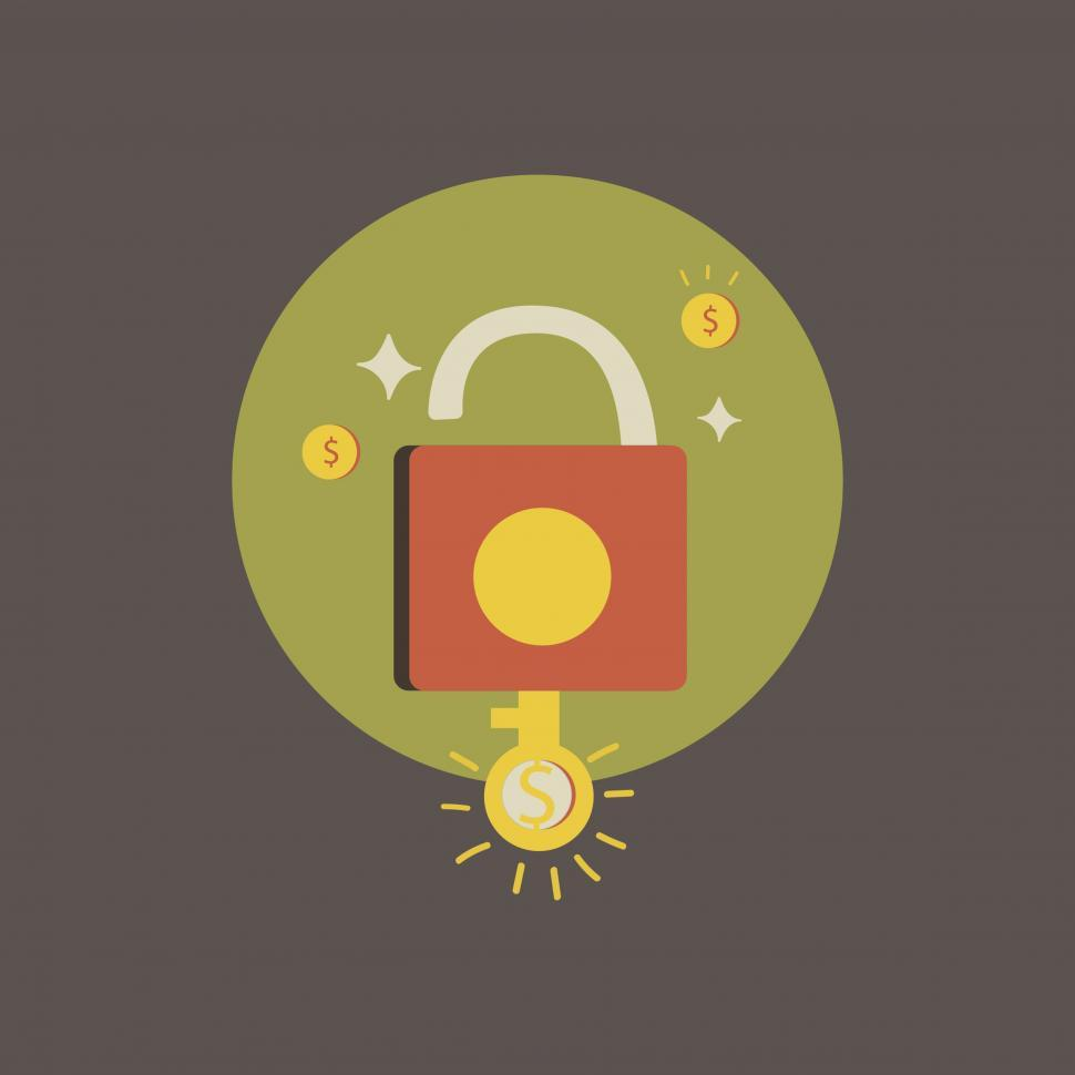 Download Free Stock HD Photo of Padlock with dollar sign key icon vector Online