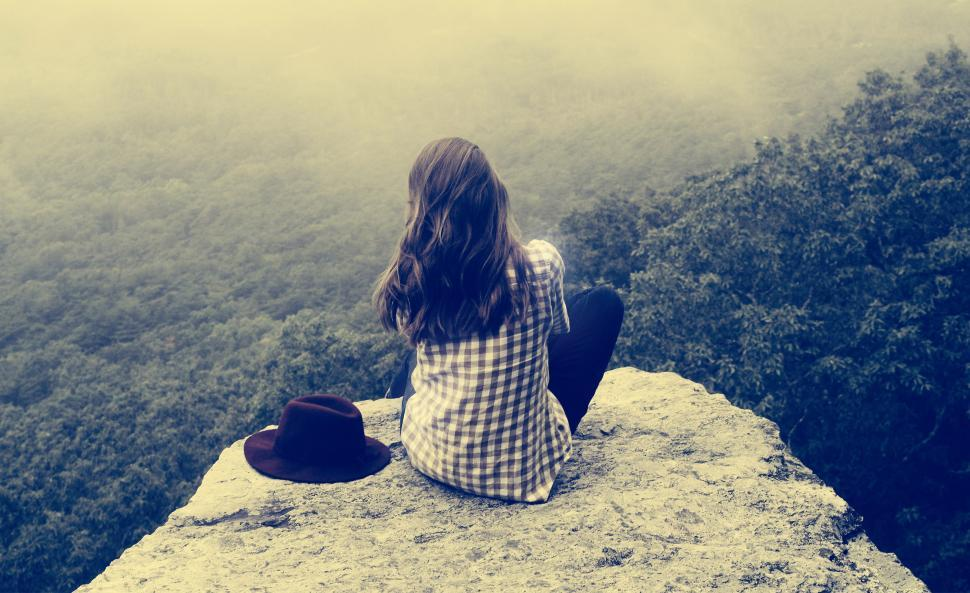 Download Free Stock HD Photo of Girl Sitting on Ledge - Vintage Looks Online
