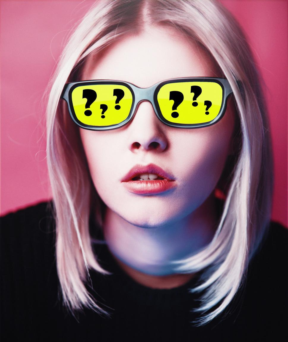 Download Free Stock HD Photo of Questions and Doubts - Girl with Yellow Glasses with Questions M Online