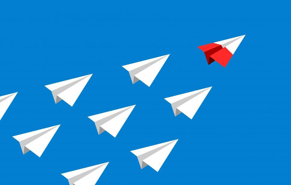 Download Free Stock HD Photo of Follow the Leader - Leadership Concept with Paper Airplanes - Va Online