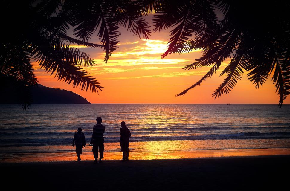 Download Free Stock HD Photo of Family on the Beach at Sunset - Holidays - Tropical Setting - Ph Online