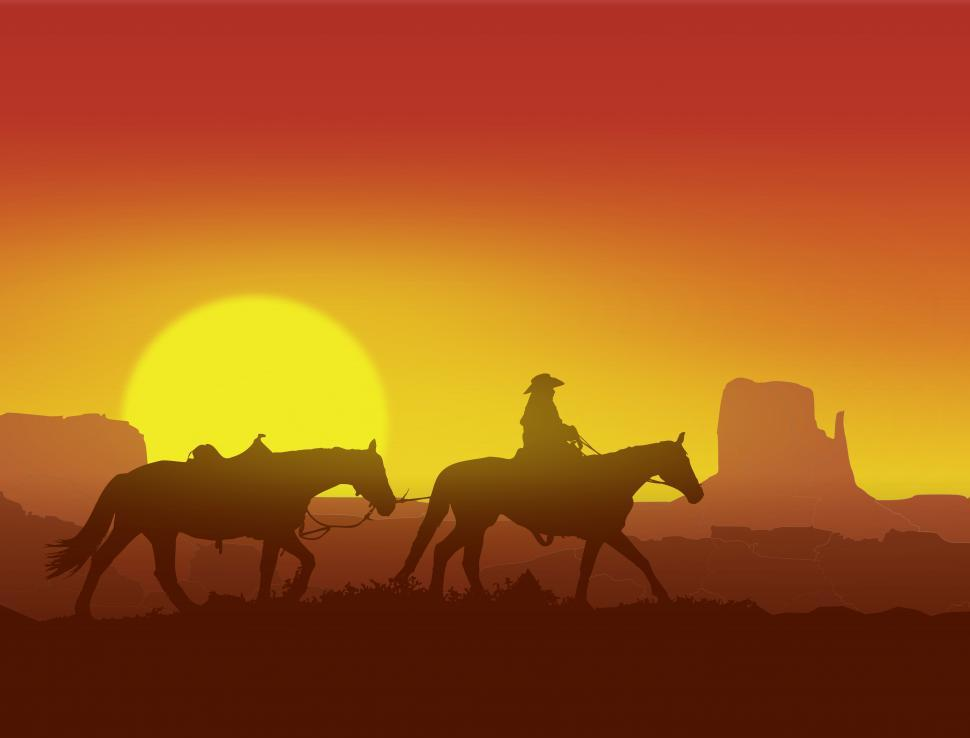 Download Free Stock HD Photo of Lone Cowboy at Sunset in Monument Valley - Wild West Concept Online