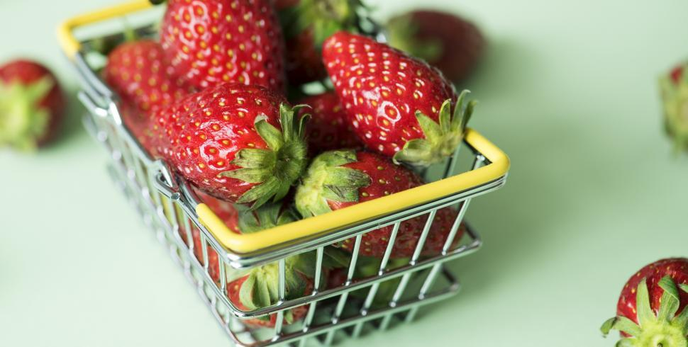Download Free Stock HD Photo of Strawberries in a steel wire basket Online