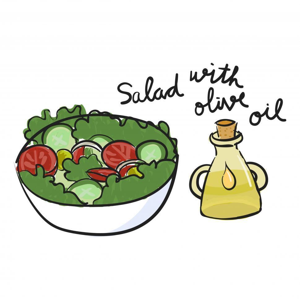 Download Free Stock HD Photo of Salad with olive oil vector icon Online