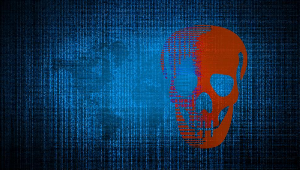 Download Free Stock HD Photo of Cybersecurity Threats - Matrix and Digital Skull Online