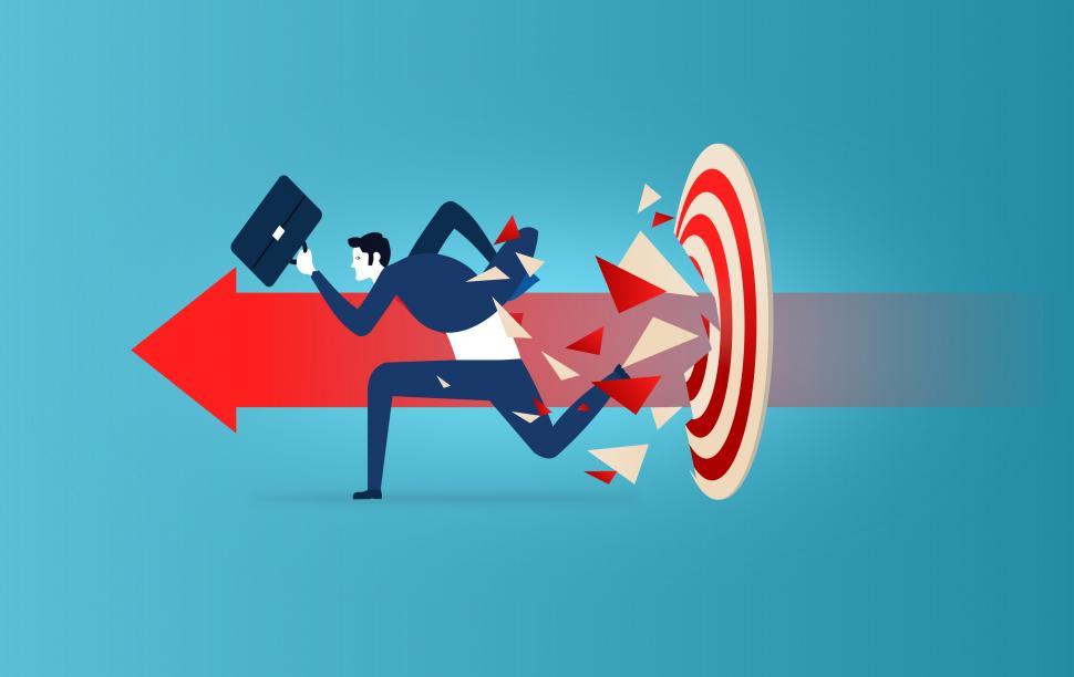 Download Free Stock HD Photo of Businessman Running and Smashing Target - Success Concept Online