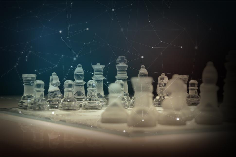 Download Free Stock HD Photo of Strategy Concept - Chess Board with Abstract Pattern Superimpose Online