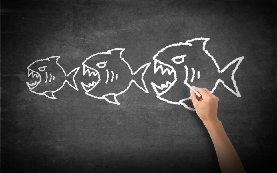Download Free Stock HD Photo of Fish Eats Fish - Competition Concept - Illustration Online