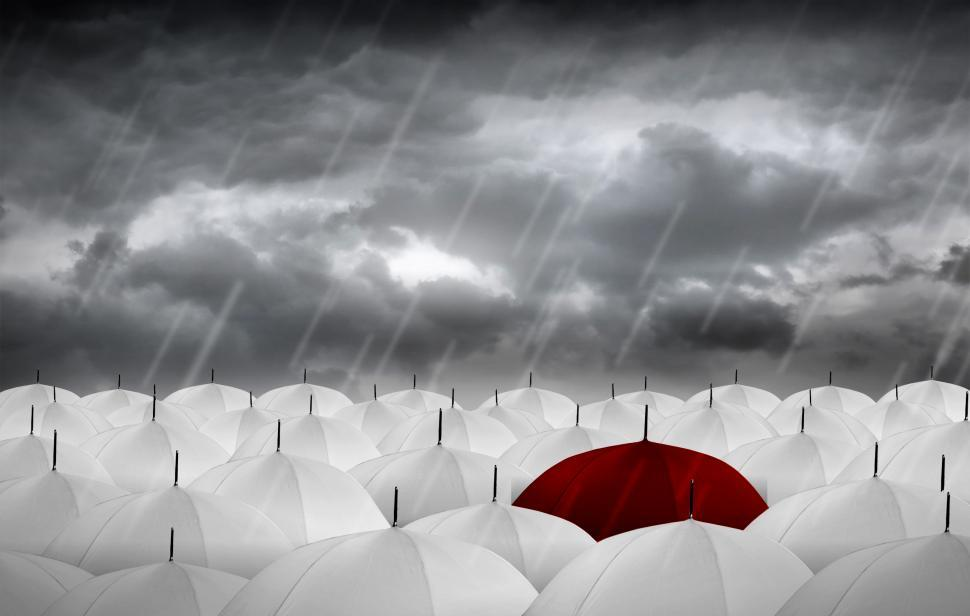 Download Free Stock HD Photo of Red Umbrella vs White Umbrellas - Be Different Online