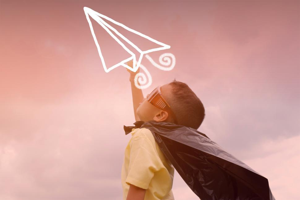 Download Free Stock HD Photo of Imagination - A Child Imagining to be a Pilot - Illustration Online