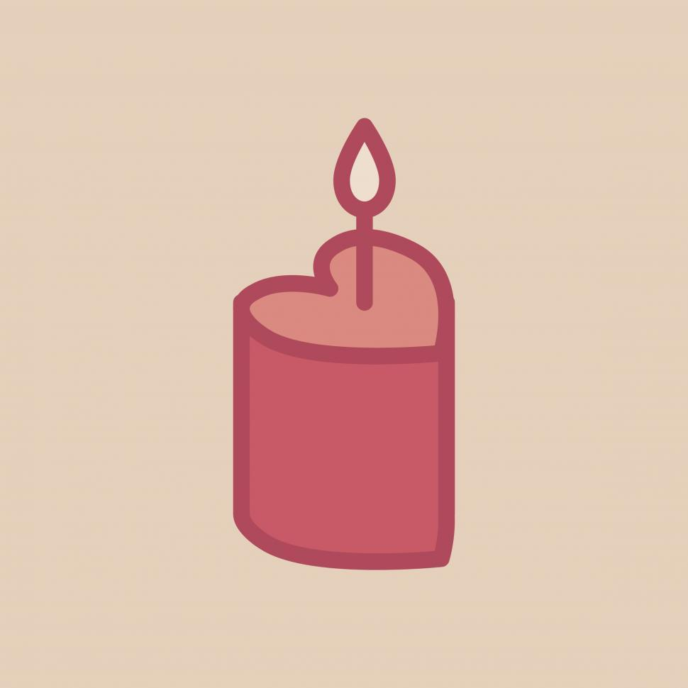 Download Free Stock HD Photo of Heart shaped cake with a candle vector icon Online
