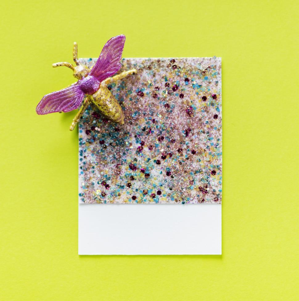 Download Free Stock HD Photo of Flay lay of a miniature toy fly on a glittery spaced cardboard frame Online