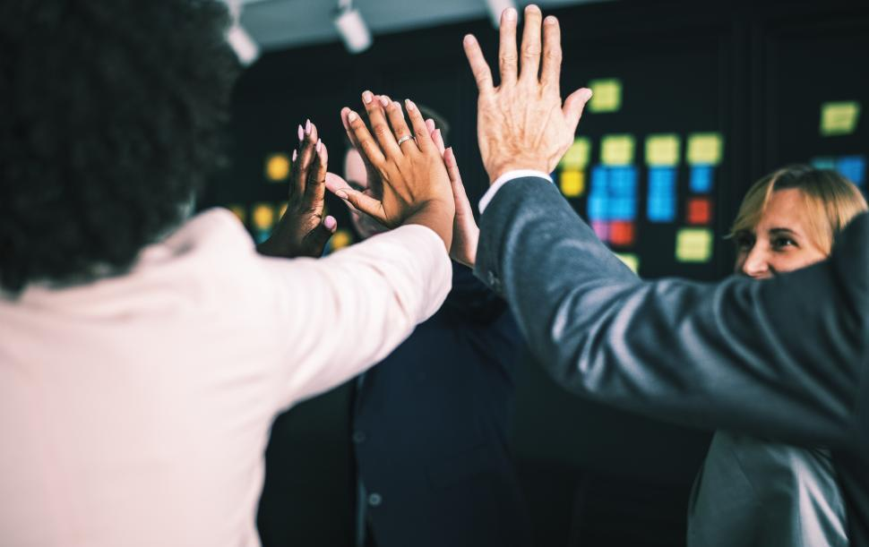Download Free Stock HD Photo of Coworkers giving high five at a gathering Online