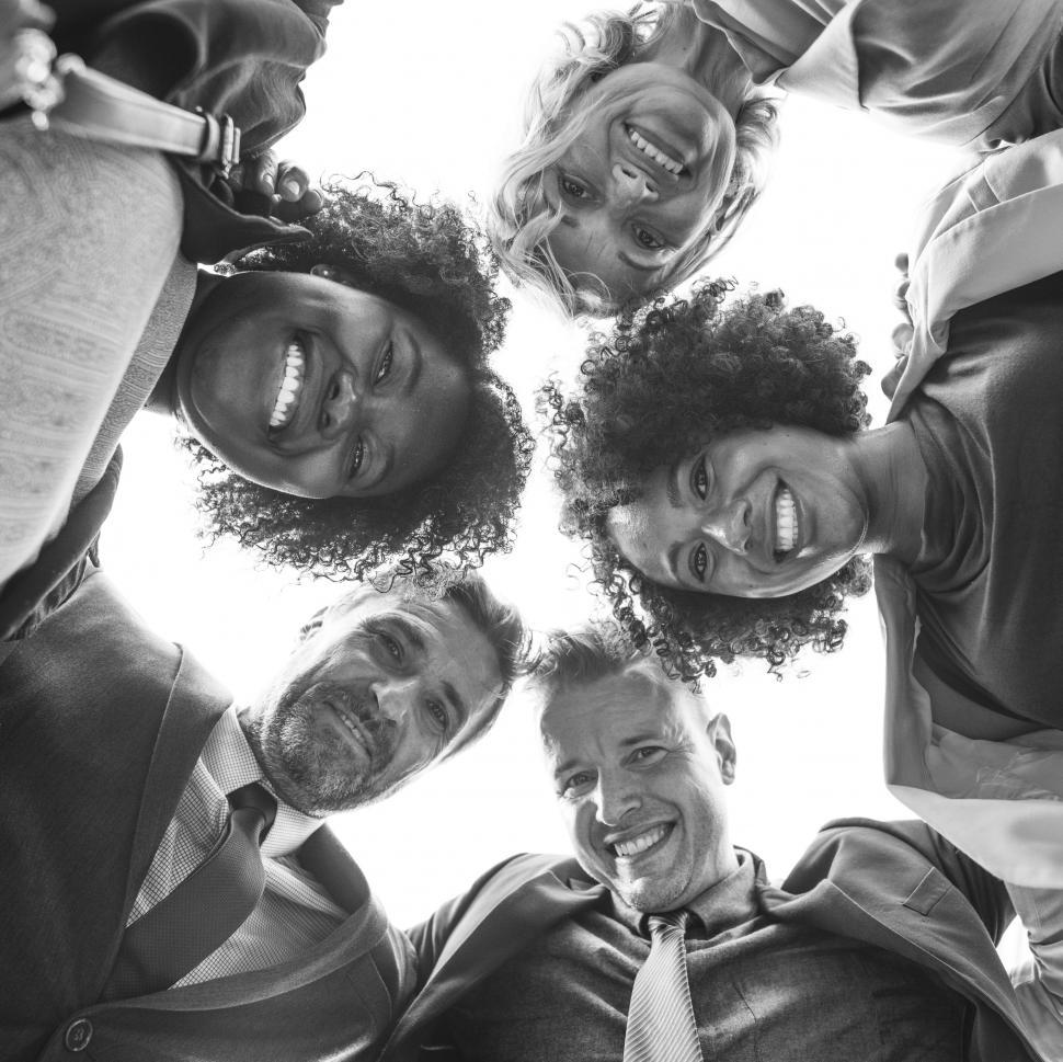 Download Free Stock HD Photo of Low angle view looking up at a team - Black and White Online
