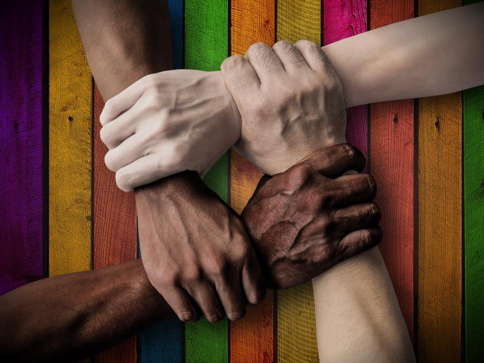 Download Free Stock HD Photo of Union - Teamwork - Team - Rainbow Background - Inclusiveness - Inclusive Company - In Online