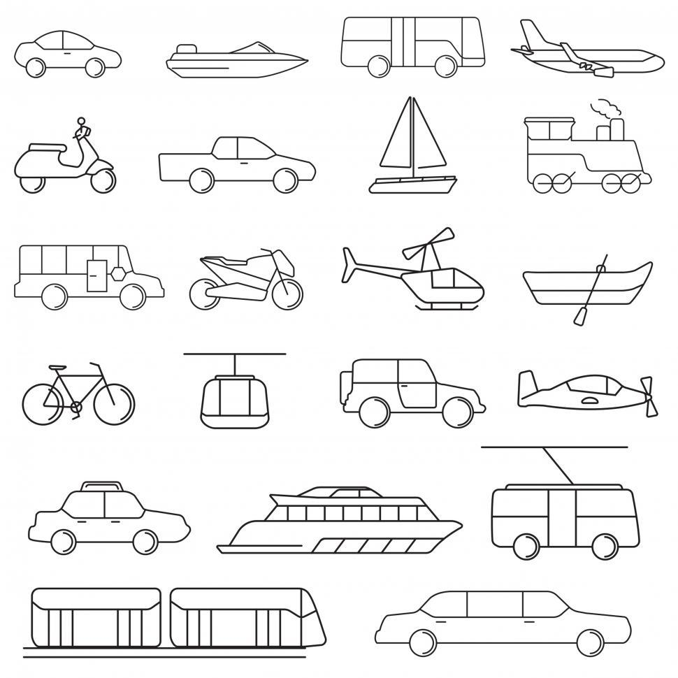 Download Free Stock HD Photo of Various transportation medium icons Online