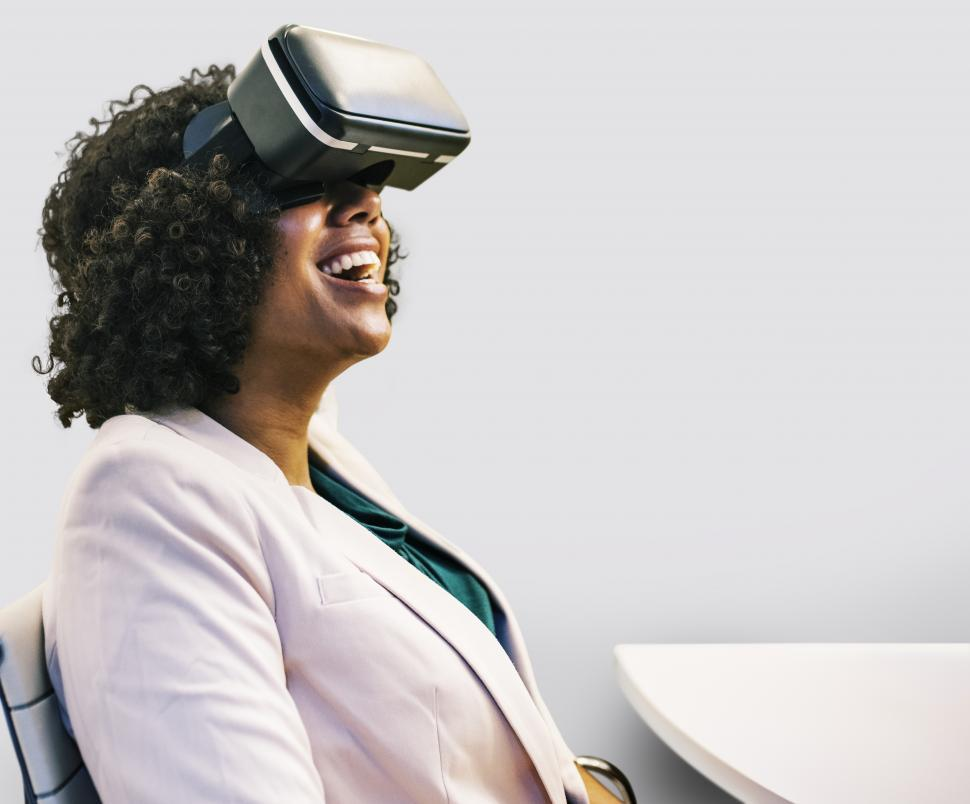 Download Free Stock HD Photo of Close up of a woman wearing a virtual reality headset Online