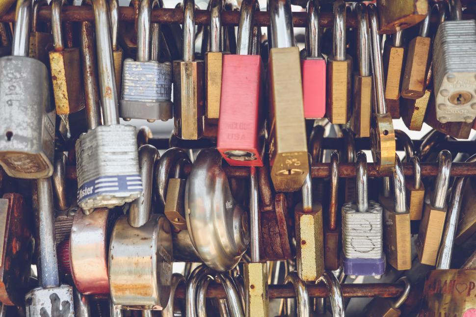 Download Free Stock HD Photo of Dense padlocks locked to bar Online