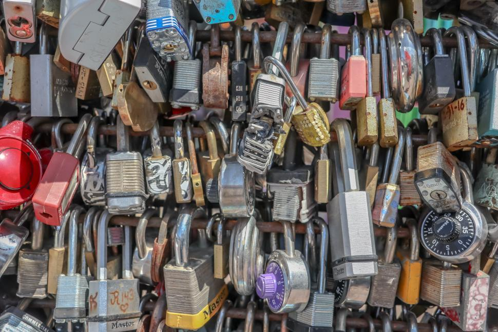 Download Free Stock HD Photo of Love Locks Densely Packed Online