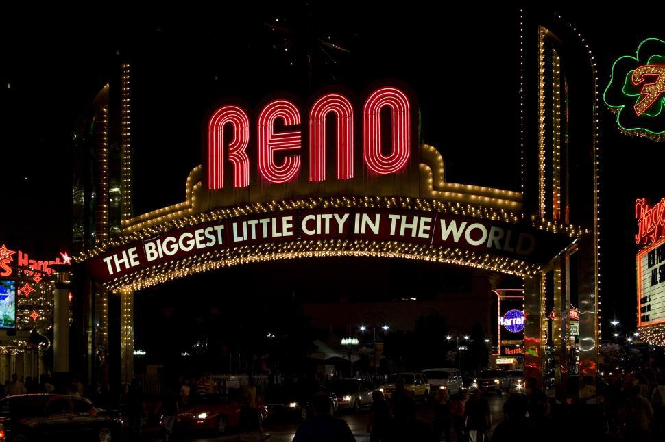 Download Free Stock HD Photo of reno strip illuminated sign Online