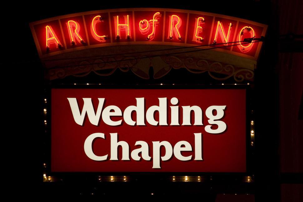 Free Image Of Illuminated Arch Reno Wedding Chapel Sign In Nevada
