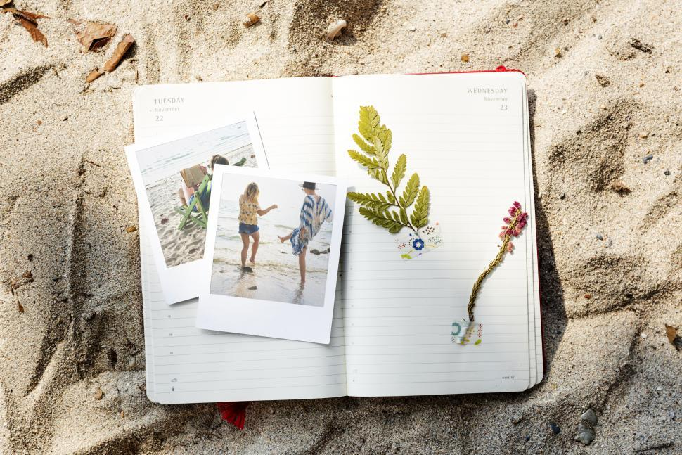 Download Free Stock HD Photo of Scrapbooking photos and plants on diary pages on the beach sand Online