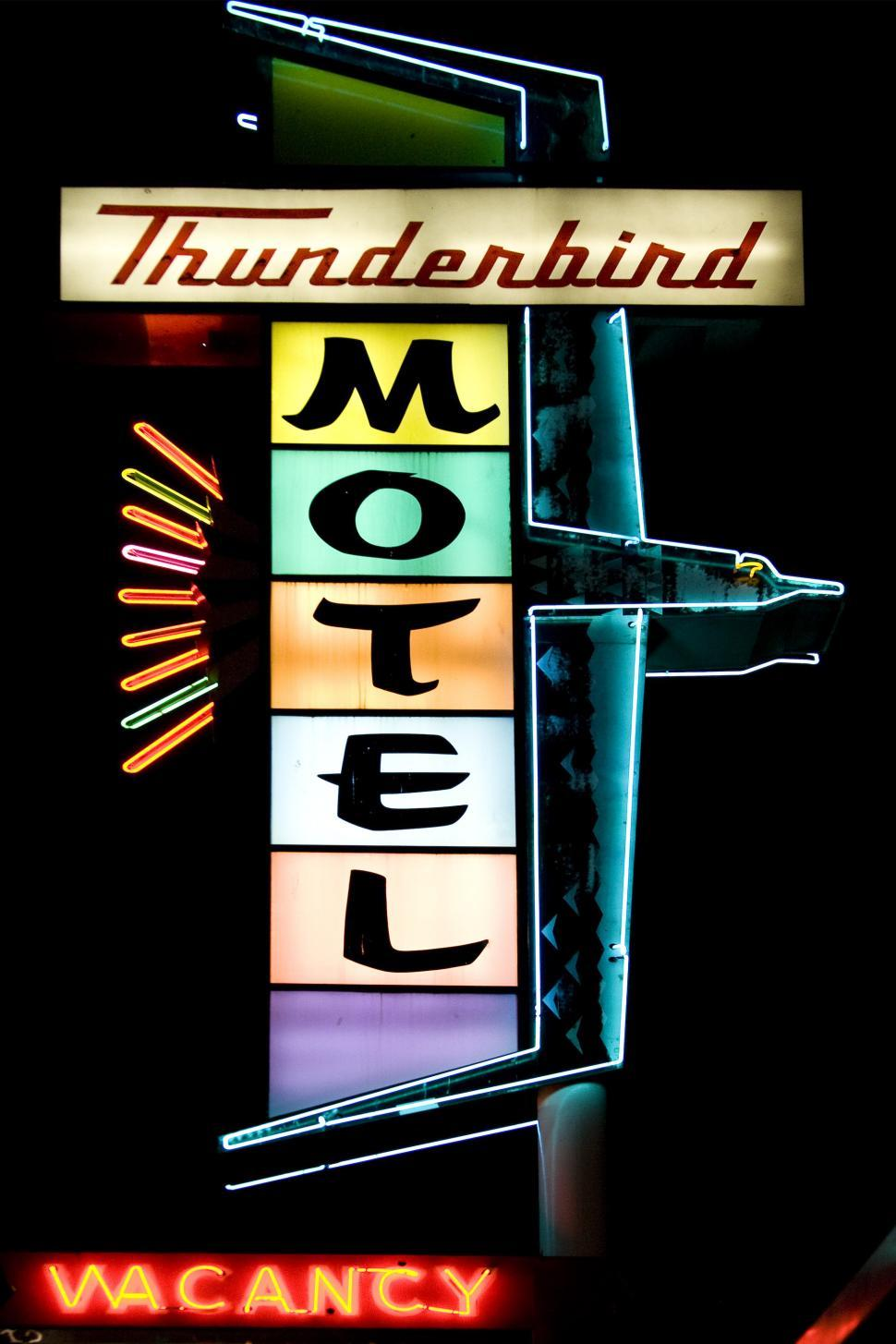 Download Free Stock HD Photo of motor hotel neon sign Online