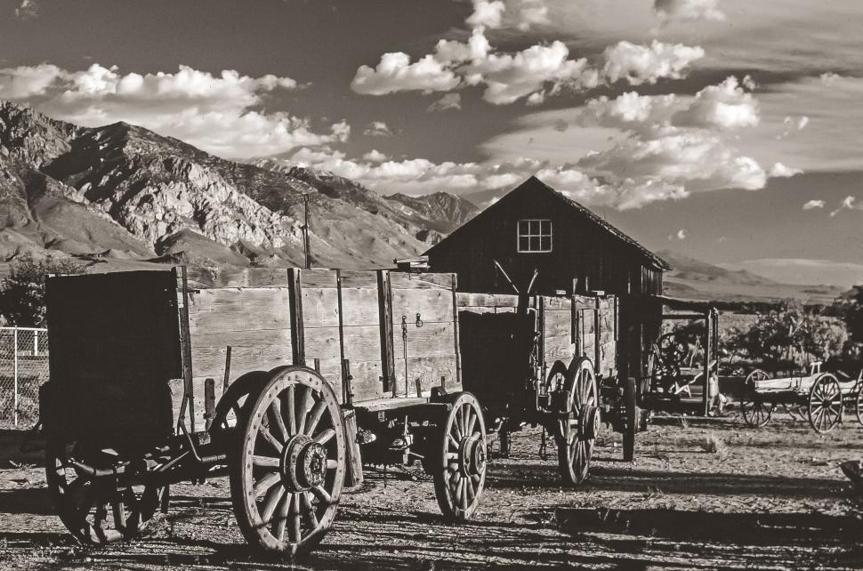 Download Free Stock HD Photo of Old Carriage Wagon Black and White Online