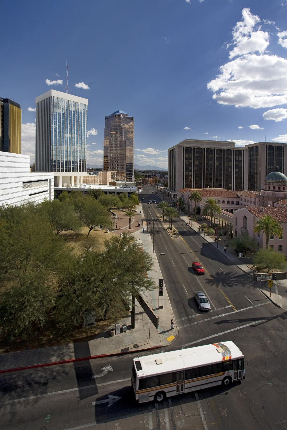 Download Free Stock HD Photo of Downtown Tucson with Bus Online
