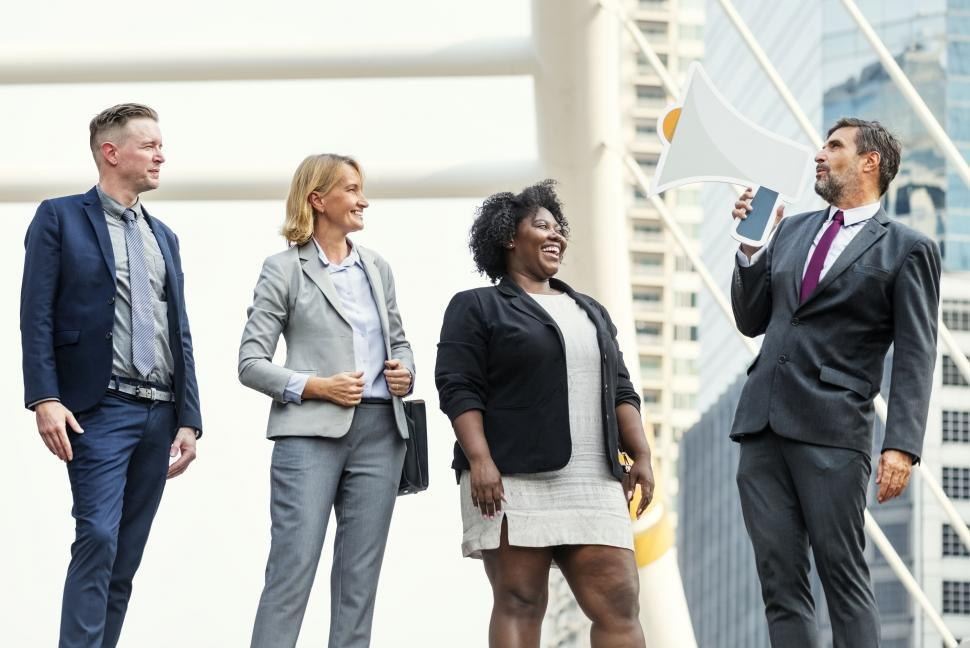 Download Free Stock HD Photo of A group of multiethnic businesspeople Online