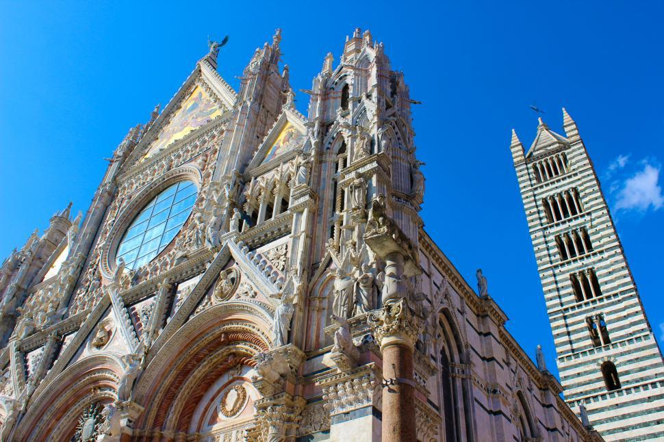 Download Free Stock HD Photo of Siena Cathedral - Duomo di Siena - Perspective of Facade and Bel Online