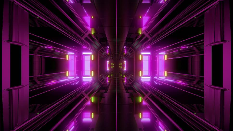 Download Free Stock HD Photo of futuristic science-fiction tunnel corridor 3d illustration background Online