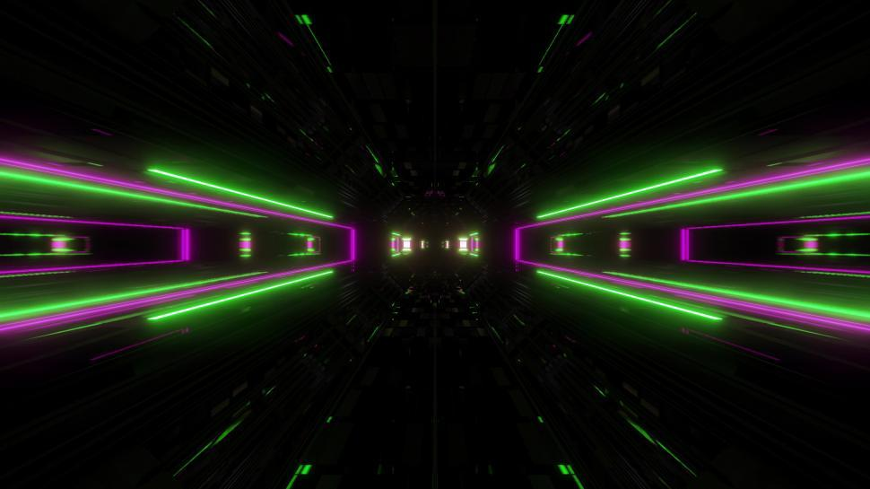 Download Free Stock HD Photo of futuristic science-fiction lights glowing tunnel corridor 3d illustration background Online