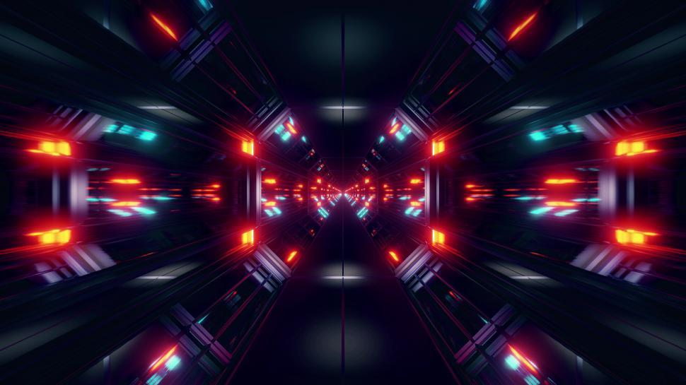 Download Free Stock HD Photo of black scifi space tunnel background wallpaper with nice glow 3d rendering Online