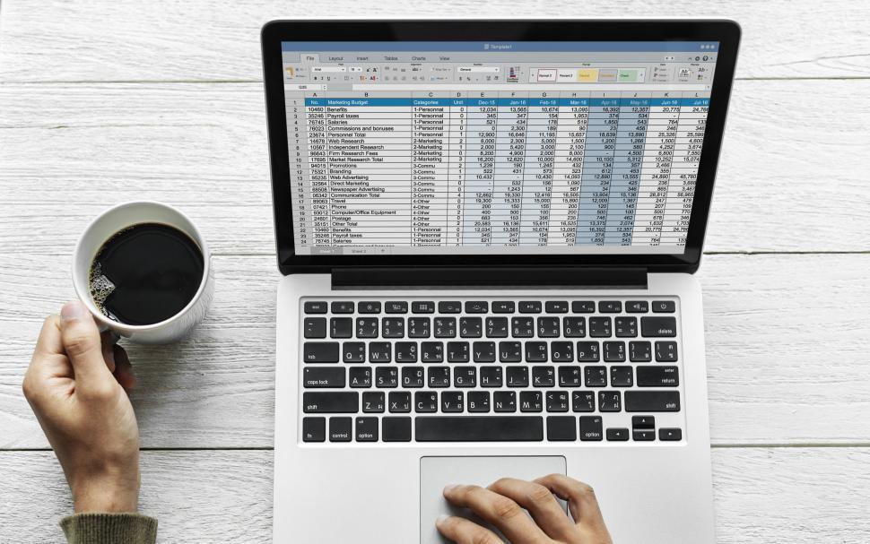 Download Free Stock HD Photo of Overhead view of a person working spreadsheet  Online