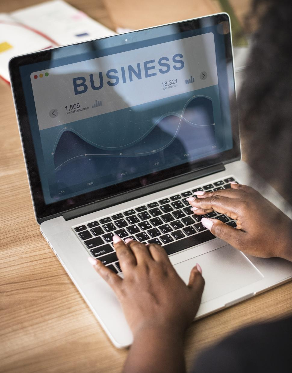 Download Free Stock HD Photo of Close up of a woman working on BUSINESS Online