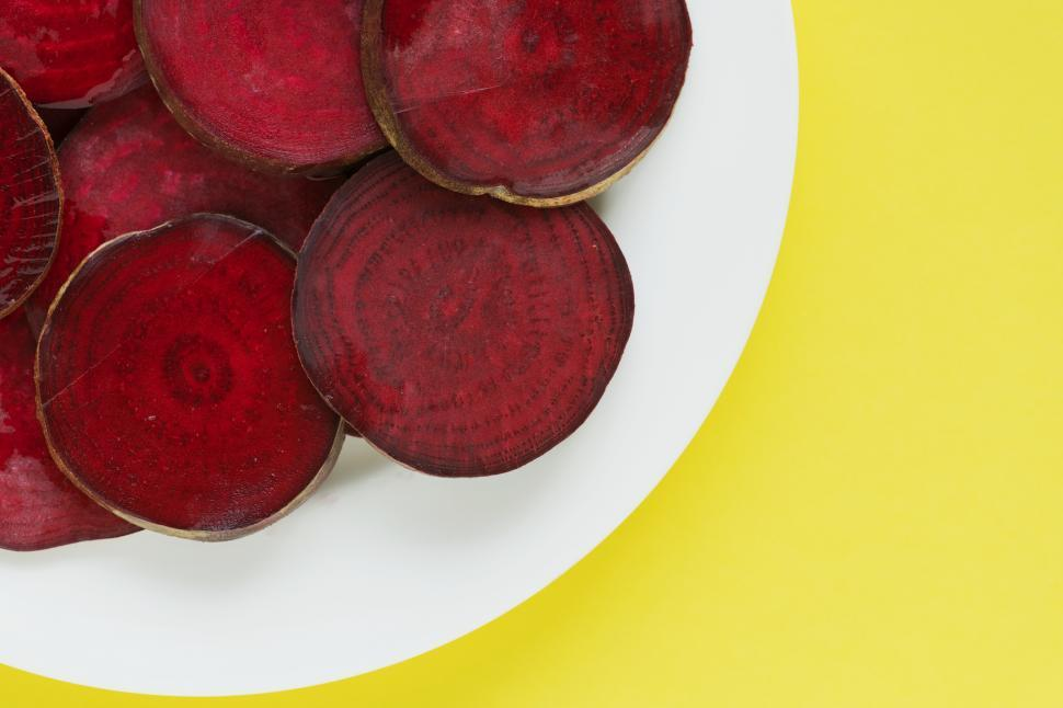 Download Free Stock HD Photo of Flay lay of beetroot slices Online